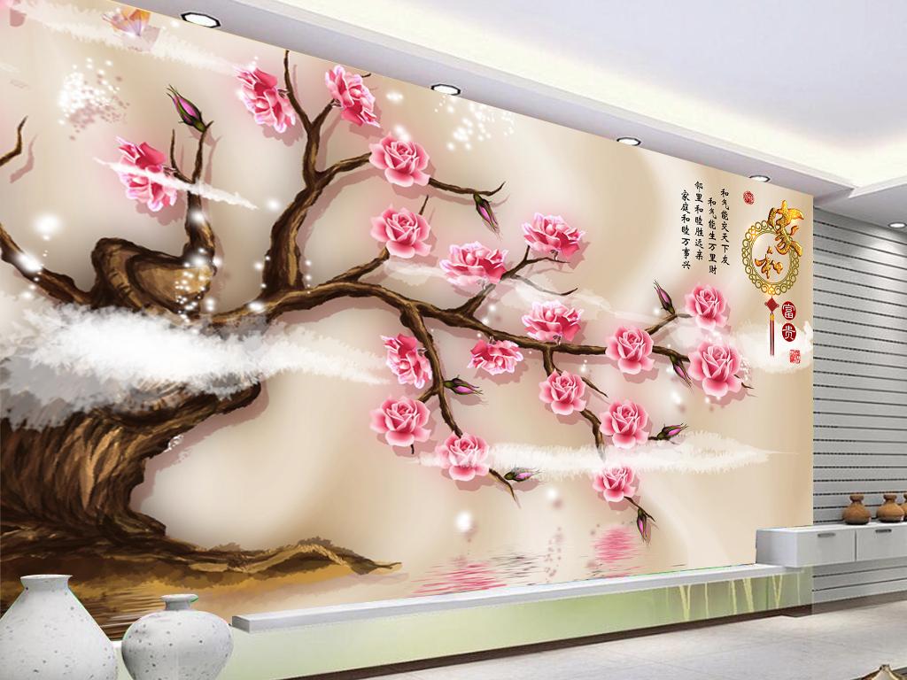 壁纸玫瑰电视背景手绘背景手绘玫瑰花朵手绘花朵3d背