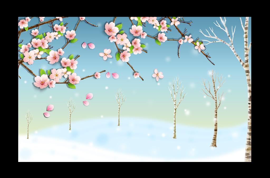 冬季简约梅花手绘大树电视背景墙