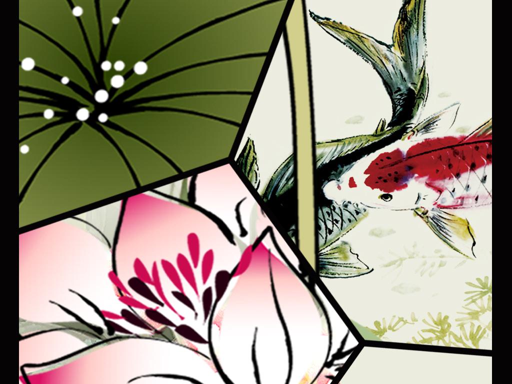 背景墙|装饰画 玄关 中式玄关 > 荷花柳树蜻蜓水墨山水中式玄关背景墙