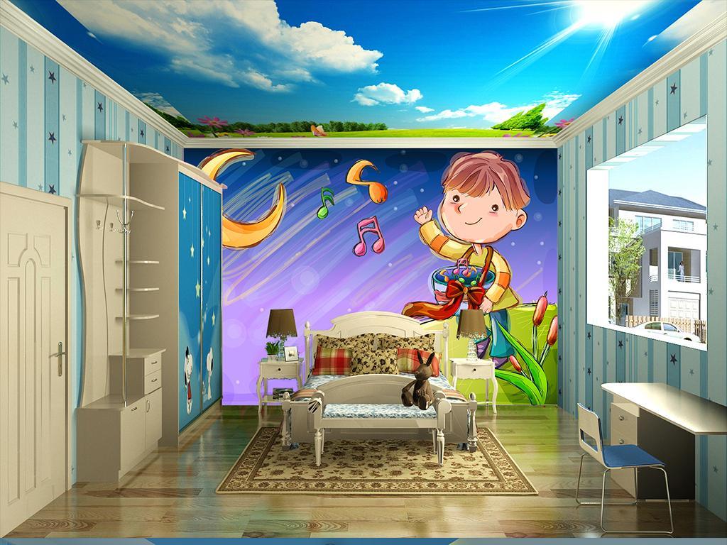 手绘卡通可爱儿童房背景