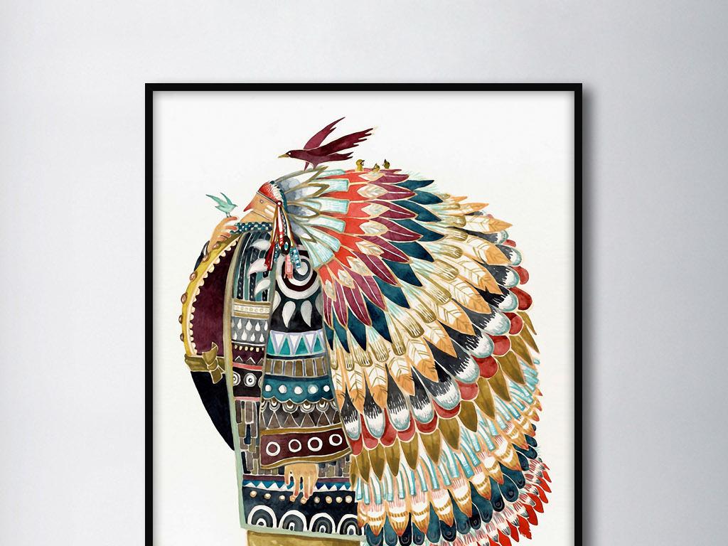印第安酋长北欧创意艺术现代欧式手绘装饰画