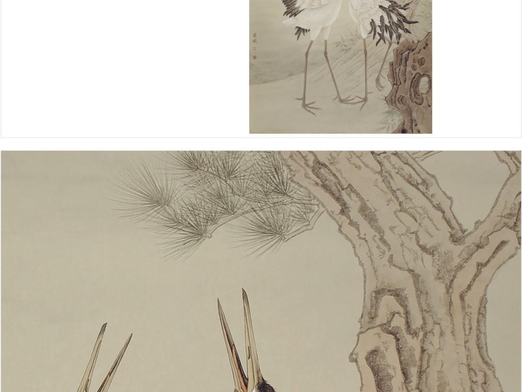 中国风花鸟工笔画仙鹤松树背景墙