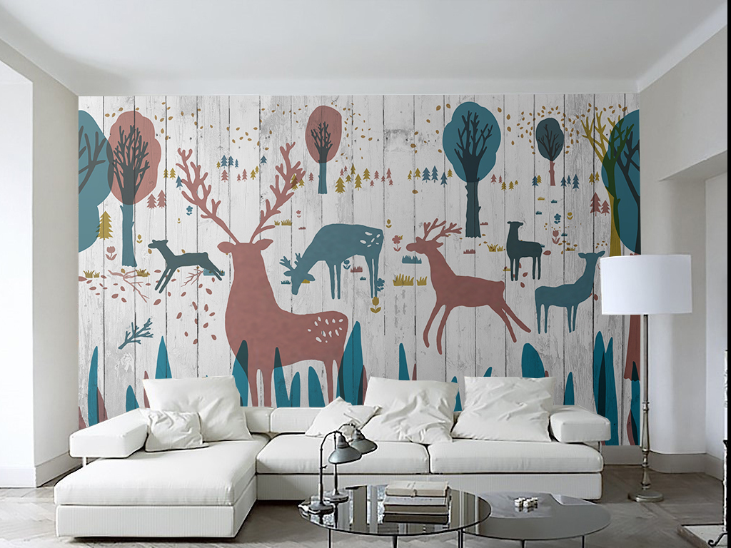 木板北欧风格麋鹿背景墙