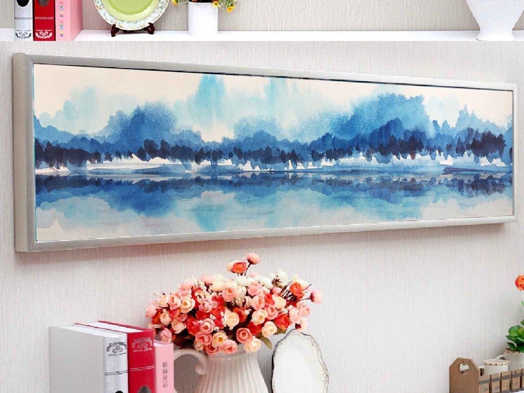 酒店卧室床头画水墨抽象山水装饰无框画