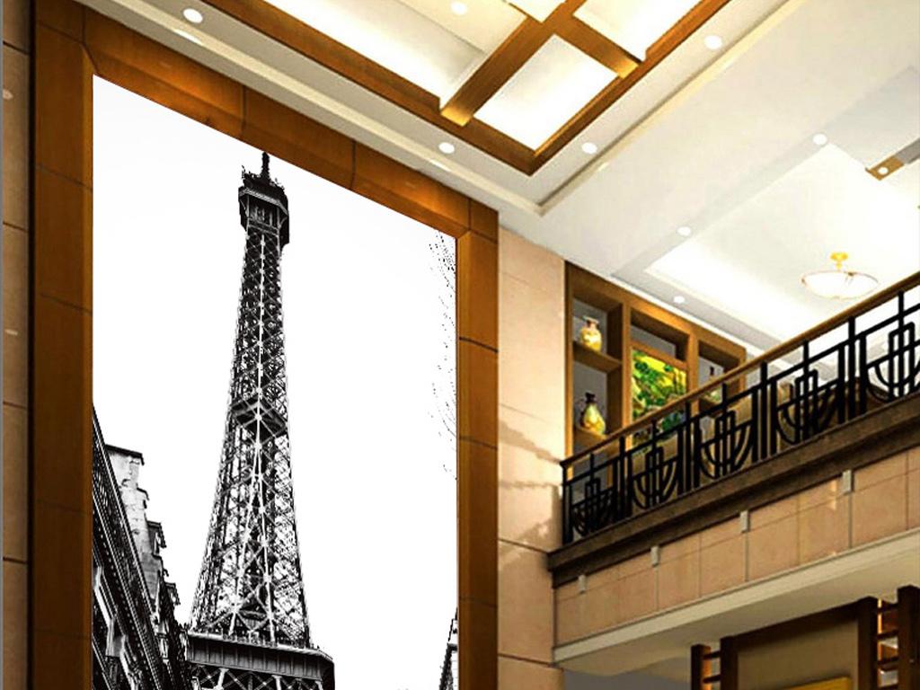 背景墙|装饰画 玄关 其他 > 埃菲尔铁塔浪漫爱情黑白无框画  版权图片