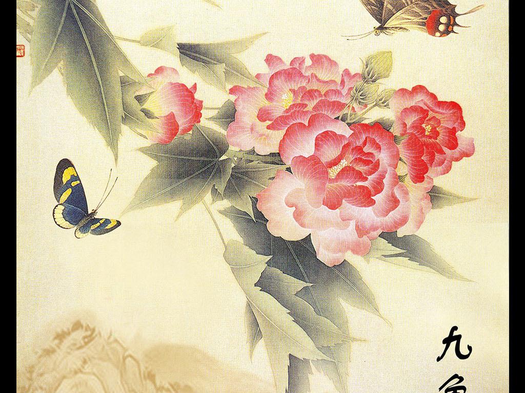 画手绘彩铅画玫瑰玄关画玄关画花欧式玄关画牡丹玄关