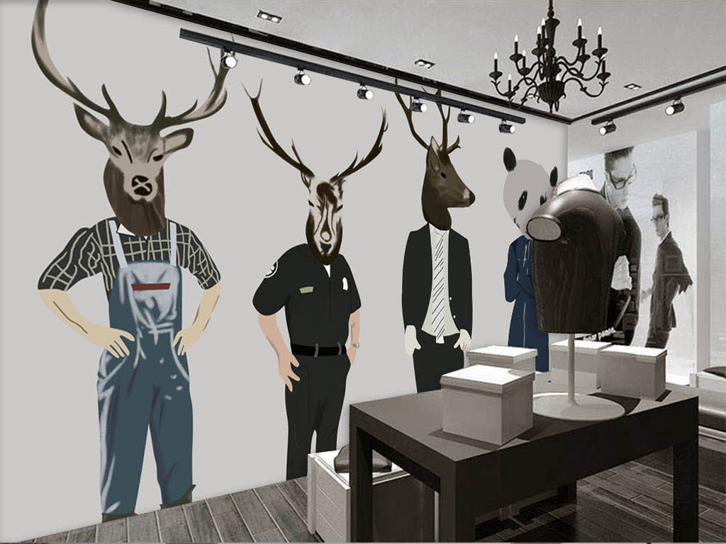 欧美手绘抽象动物男装店服装店背景墙