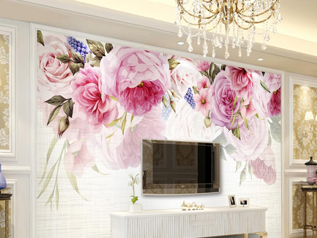 背景墙 装饰画 电视背景墙 珠宝背景墙 > 手绘蔷薇唯美电视背景  版权
