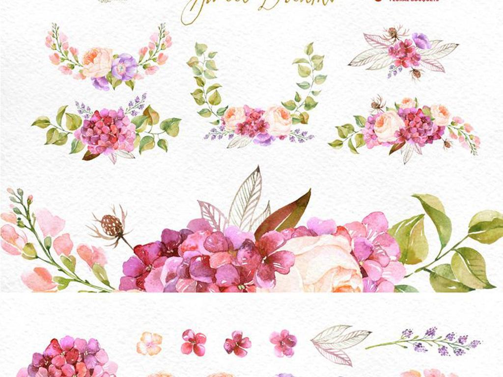 花边手绘背景免扣水彩高清婚礼素材素材植物植物素材花艺水彩植物高清