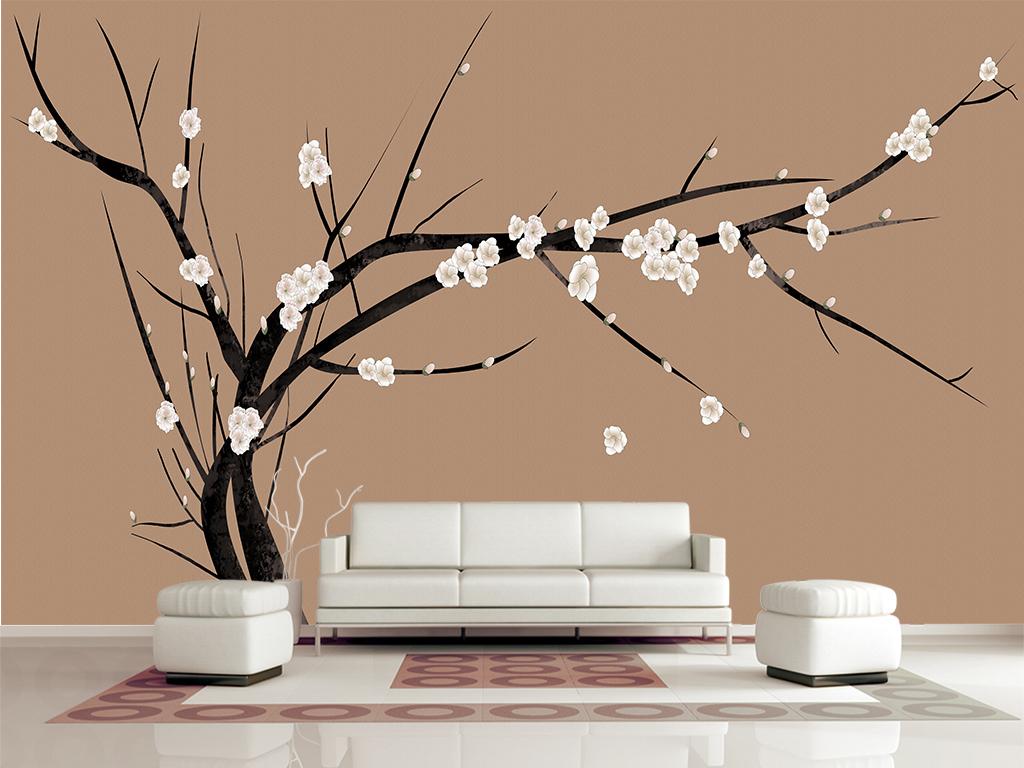 梅花手绘花鸟工笔花鸟新中式背景墙中式装饰