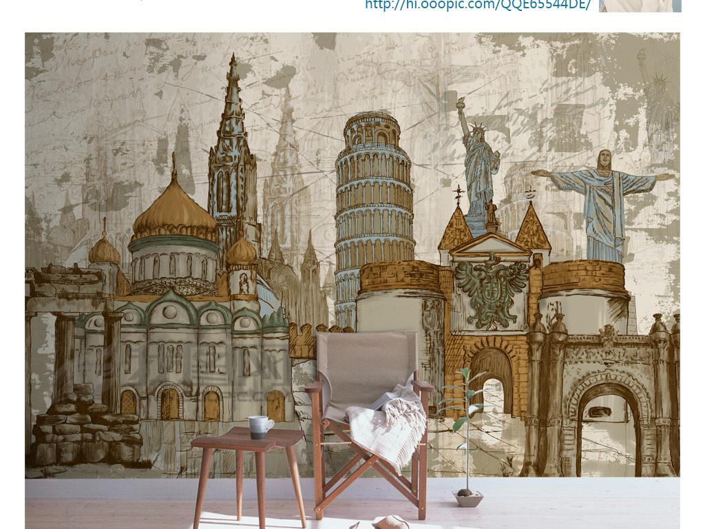 使用软件为手绘高清欧式古城堡铁塔欧美复古怀旧涂鸦抽象西餐厅ktv