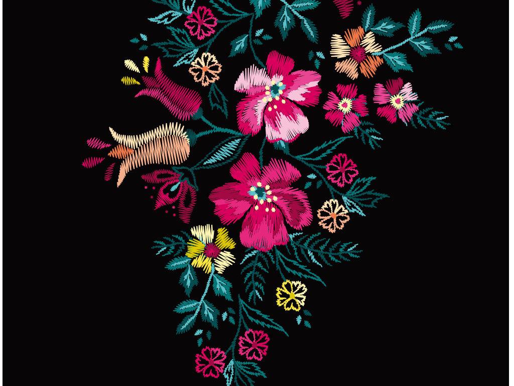 彩色卡通鲜花花纹底纹图(图片编号:15962508)_花卉_我