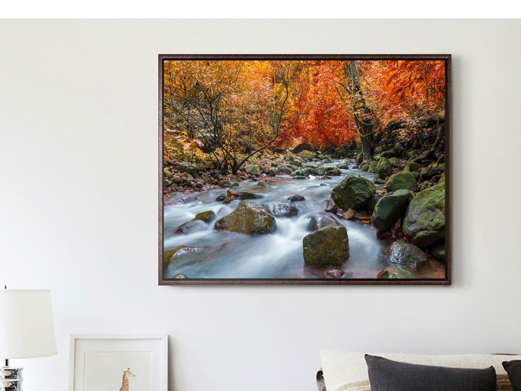 树叶黑白装饰线描画-树叶枫叶枫树树木森林瀑布流水生财风景摄影