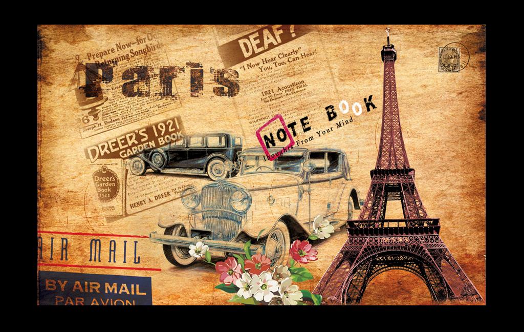 怀旧欧美油画巴黎铁塔汽车工装背景墙