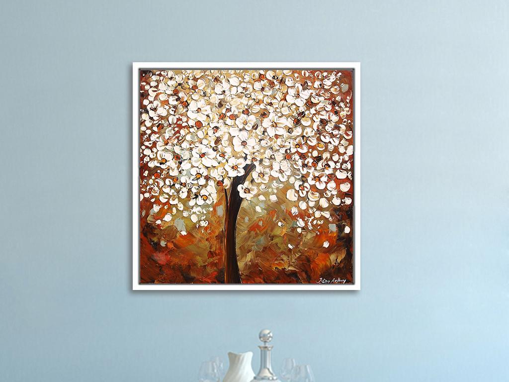 发财树手绘油画抽象画客厅卧室装饰画
