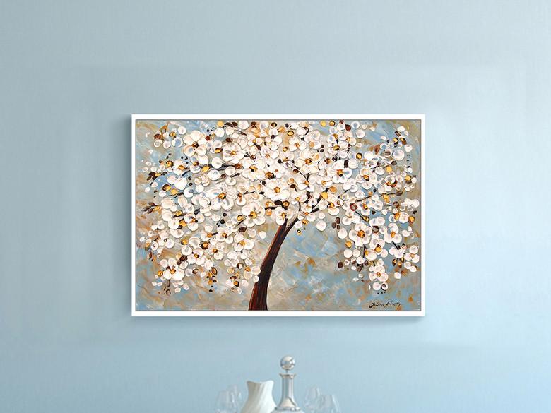 发财树横幅手绘抽象画油画现代客厅装饰画