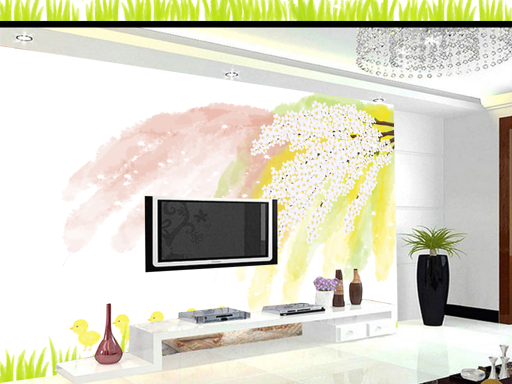 背景墙|装饰画 电视背景墙 3d电视背景墙 > 水彩手绘白花树枝背景墙