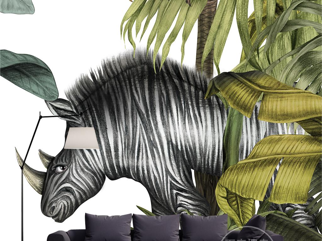 复古怀旧手绘雨林芭蕉树斑马犀牛壁画背景墙