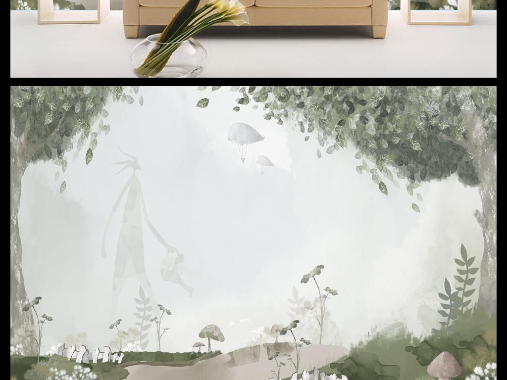 新中式唯美简约森林背景墙手绘