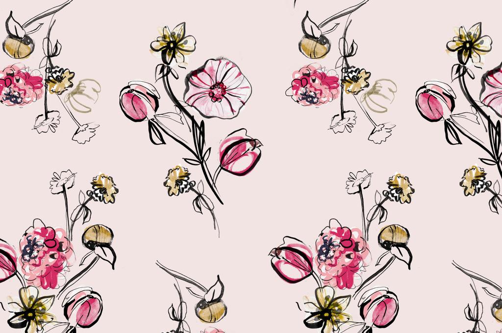涂鸦图案手绘图案设计抽象几何花型设计插画植物花卉