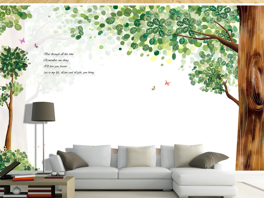手绘树木小清新电视背景大树森林背景清新背景小清新背景电视大树背景