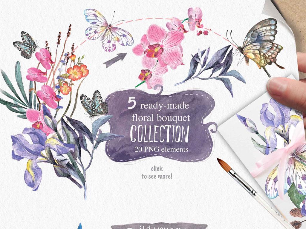 花素材花朵彩旗手绘卡通兔子psd素材全套36款复古文艺矢量手绘欧式
