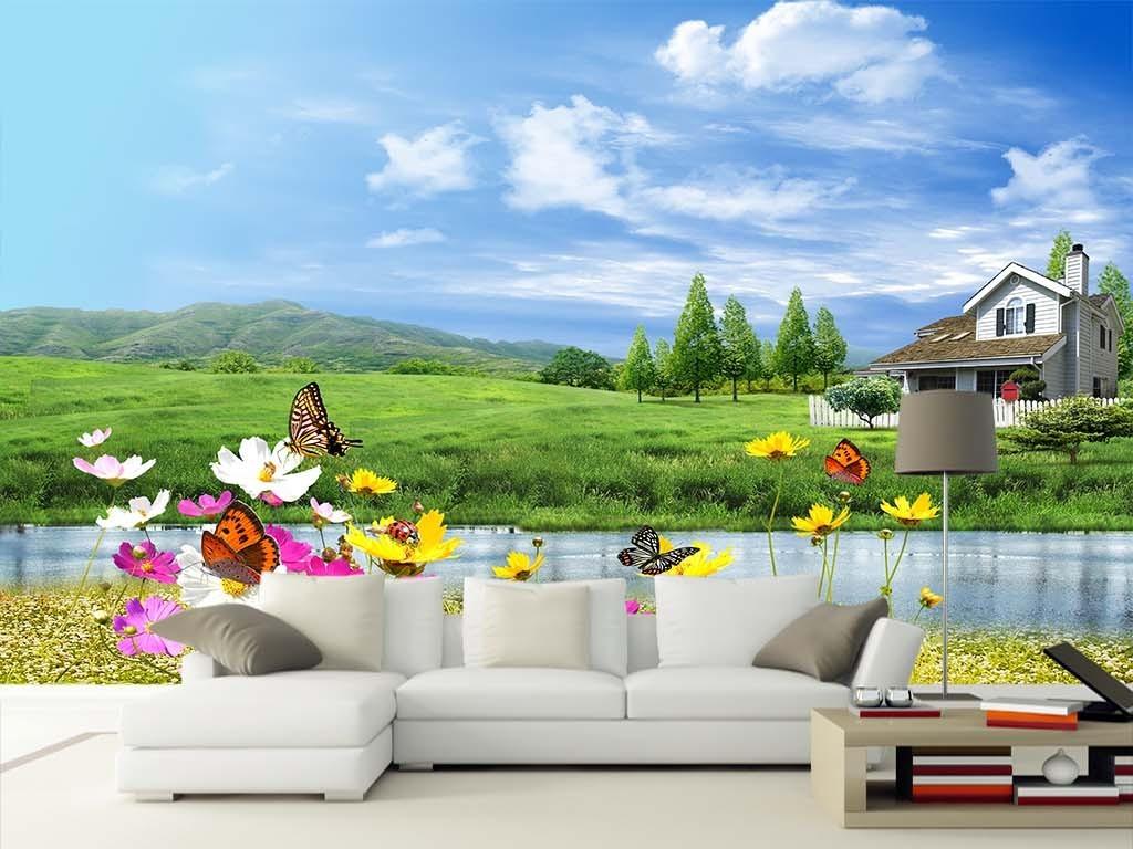 自然风景海边别墅风景图壁画