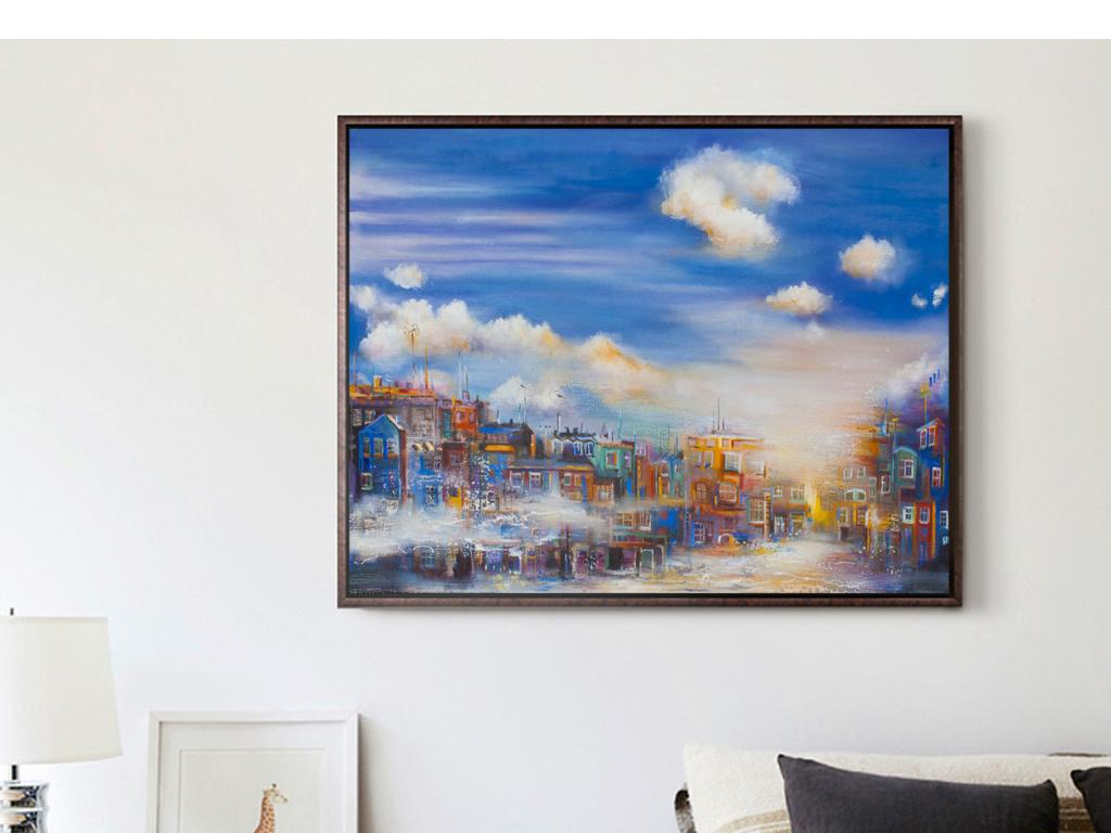 简约抽象手绘油画城市建筑房子蓝天白云