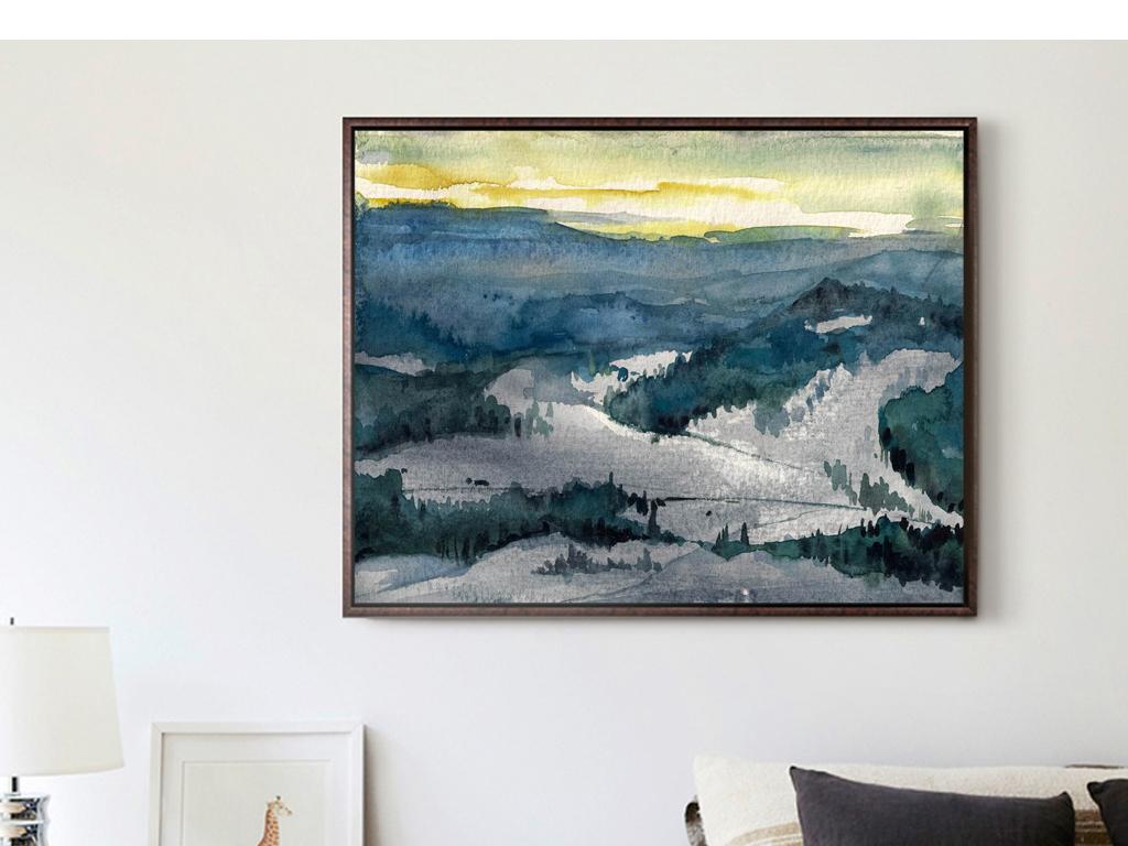 手绘油画山川山脉森林草地