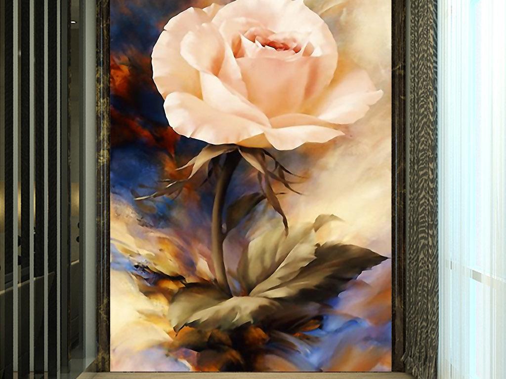 手绘水彩画墙画壁画装饰画背景墙无框画图案设计玫瑰花金色欧式玫瑰花
