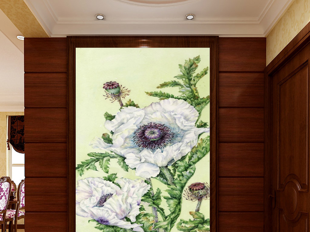 手绘水彩花卉现代花卉小白花黑白花黑底白花花白花白花图片一串小白花