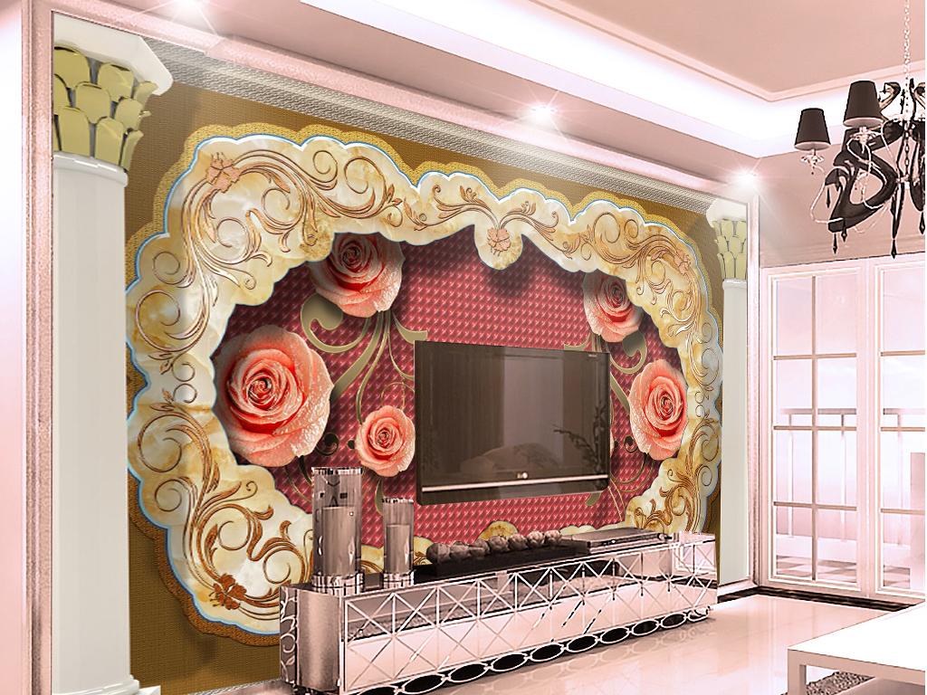 欧式宫殿大理石软包花卉客厅电视背景墙