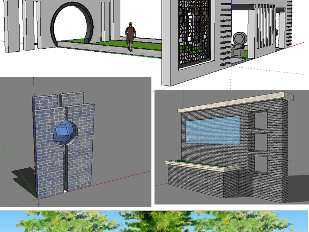skp)                                  新中式景观墙图片