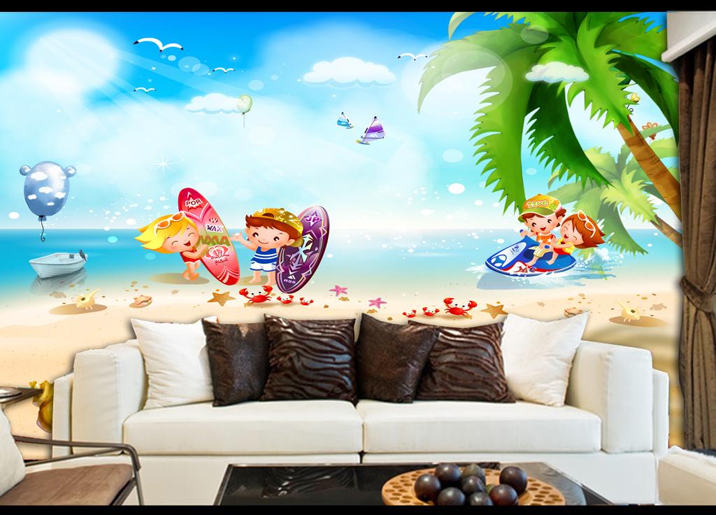 背景海岛椰林椰树海螺个性儿童房墙纸卡通海景唯美背景清新背景儿童