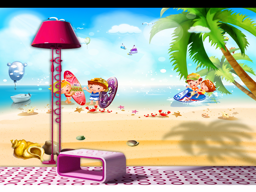 儿童房沙发背景海岛椰林椰树海螺个性儿童房墙纸卡通海景唯美背景清新