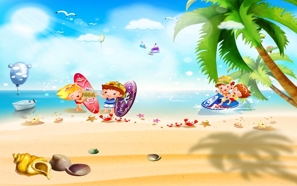 海岛椰林椰树海螺个性儿童房墙纸卡通海景唯美背景清新背景儿童背景