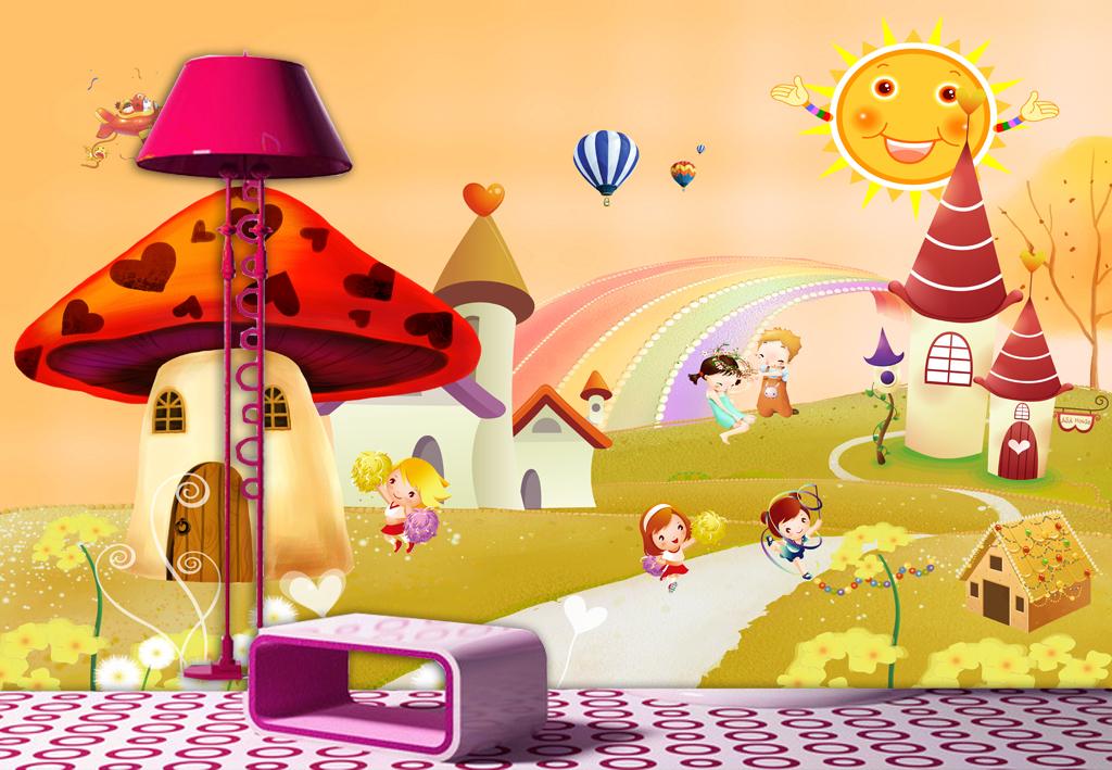 蘑菇房唯美卡通儿童房背景墙壁画