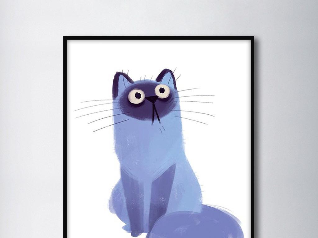 背景墙|装饰画 无框画 动物图案无框画 > 蓝色可爱猫喵星人北欧手绘欧
