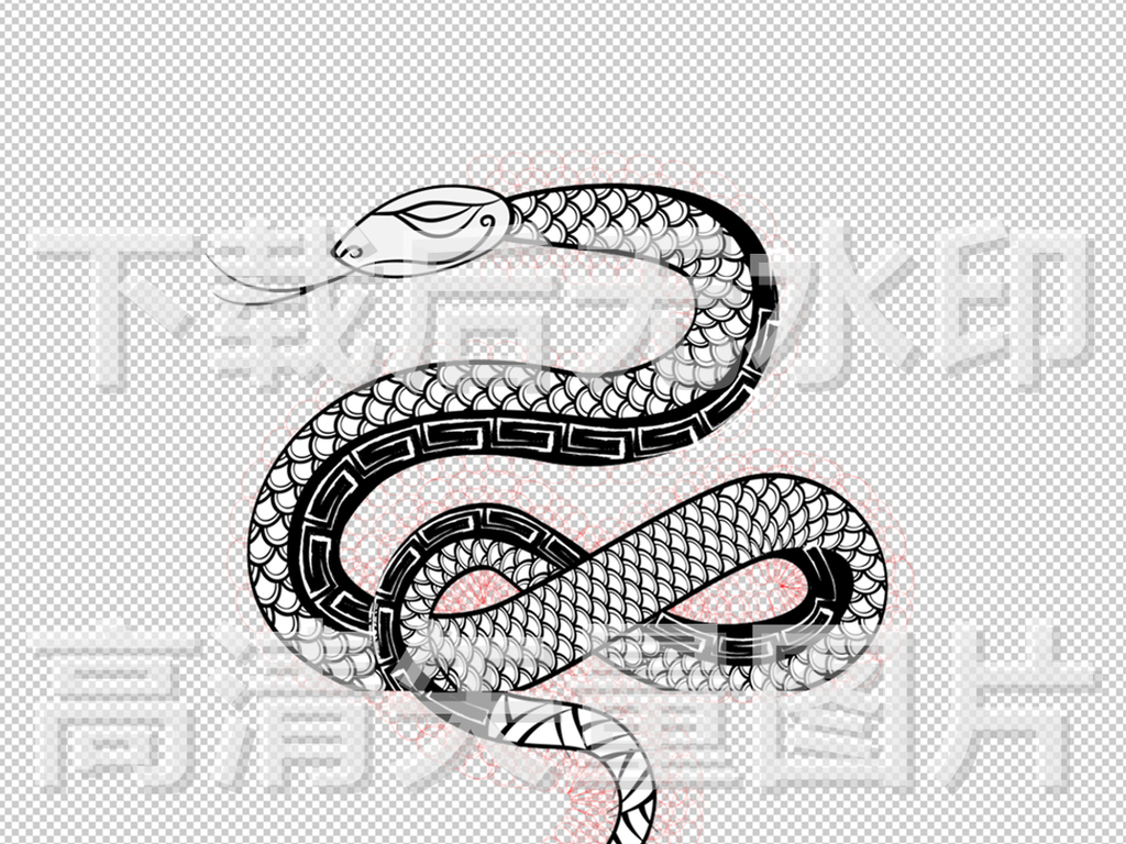 卡通蛇简笔画轮廓