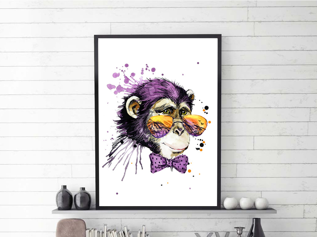 时尚北欧猴子手绘个性动物装饰画抽象画