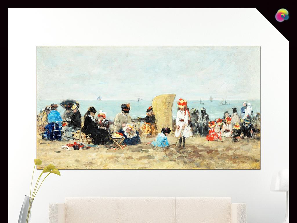 高清手绘欧式复古人物海边风景油画装饰画