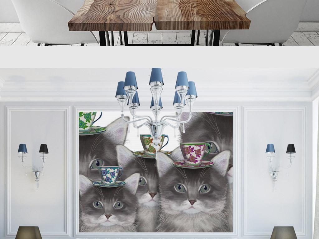 欧式创意手绘小猫头顶咖啡无框画