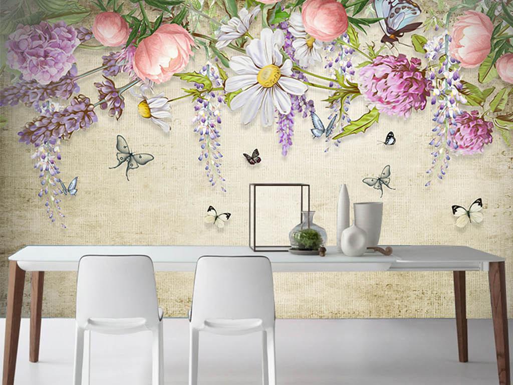欧式手绘复古花卉背景墙