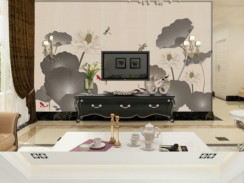 电视背景墙 手绘电视背景墙 > 中式手绘工笔花鸟荷花抽象画背景  版权