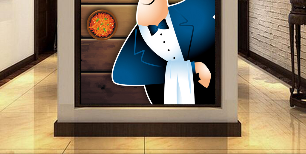 3d木板背景手绘大厨师快餐店工装玄关