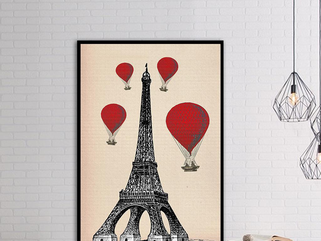 创意欧式著名建筑无框装饰画6幅