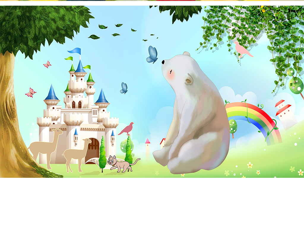 手绘熊卡通熊迪士尼城堡卡通树儿童房卡通背景大树城堡儿童卡通卡通