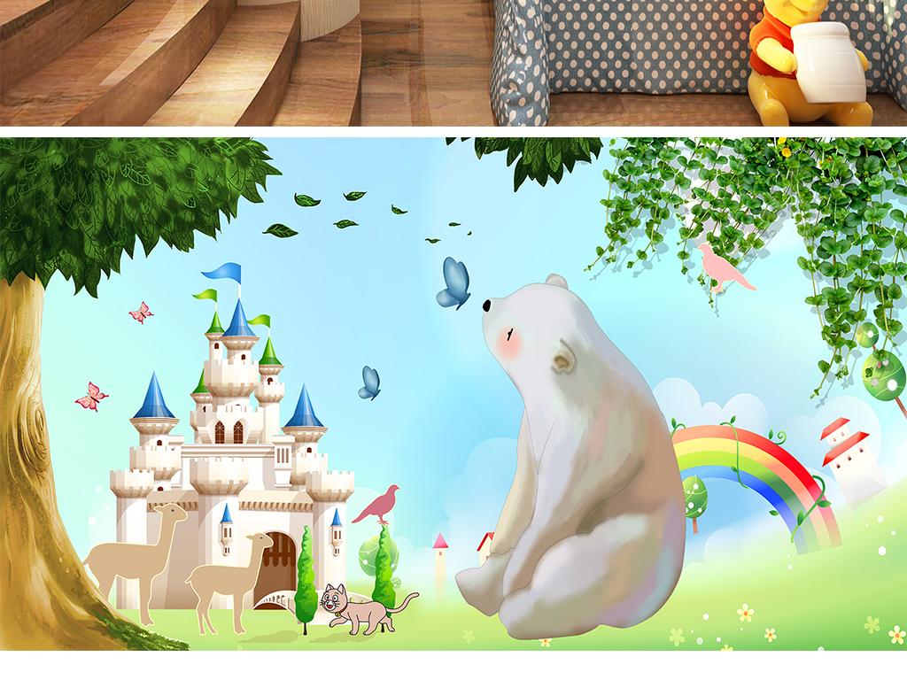 迪士尼游乐园手绘熊卡通熊迪士尼城堡卡通树卡通背景