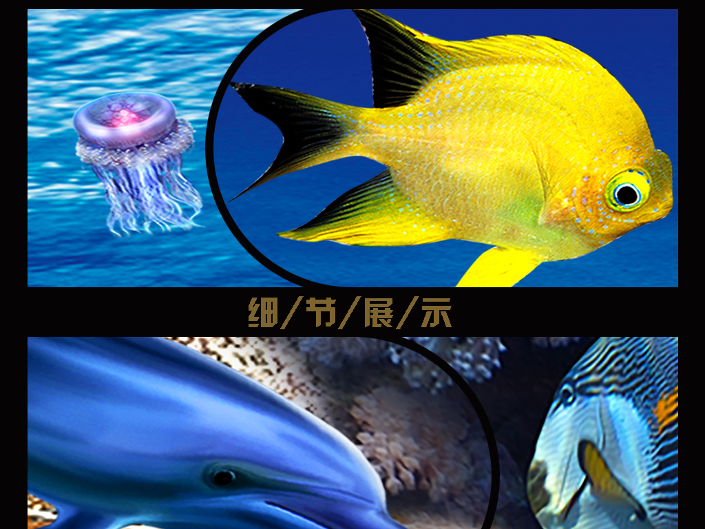 3d海底世界海藻热带鱼蓝色海洋背景墙图片