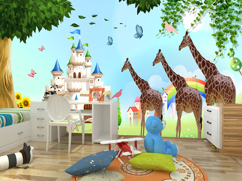 迪士尼城堡卡通大树长颈鹿儿童房背景